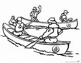 Canoeing Coloring Pages Canoes Canoe Printable Four Kayak Template Sketch Results sketch template