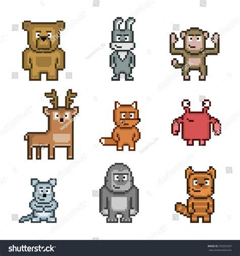 pixel art collection cute animals stock illustration