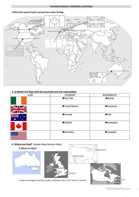 The Main English Speaking Countries Worksheet  Free Esl Printable Worksheets Made By Teachers