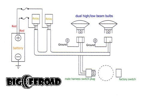 Simple Headlight Relay Wiring by Big Offroad Headlight Wiring Kit Opiebennett