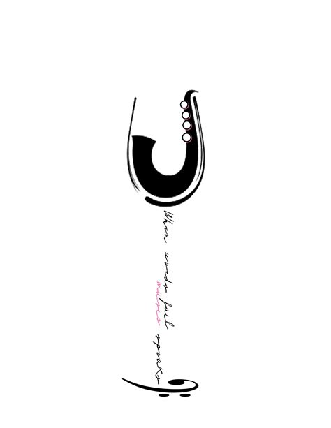 """When words fail, music speaks."" I don't quite understand why it is a wine glass, but I like the"