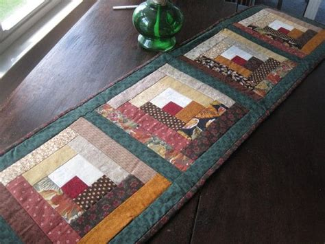 How cheap are cabins in north alabama? Quilted Log Cabin table runner 14x50 inches by BudgiefluffSews, $30.00 | Quilted table runners