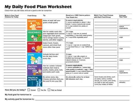 my daily food plan worksheet daily food plan worksheets from the usda choose my plate