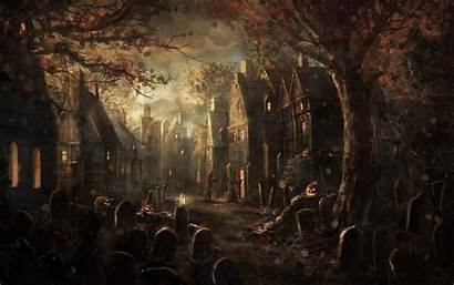 Cemetery Graveyard Halloween Haunted Wallpapers Spooky Scary