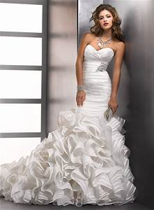 Mermaid wedding dresses with ruffles for Wedding dress with ruffles on bottom