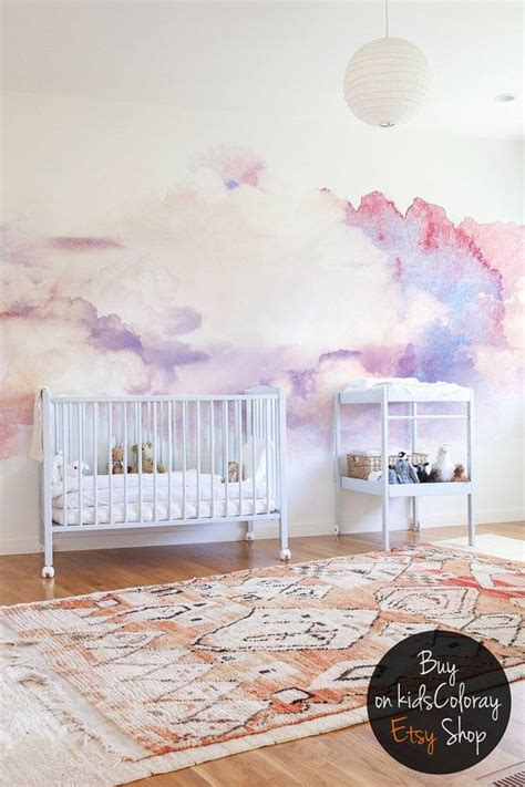 watercolor abstract clouds wall mural soft  elegant