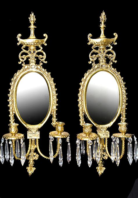 Candle Wall Sconces With Mirror - vintage brass neoclassical candle wall hanging mirror