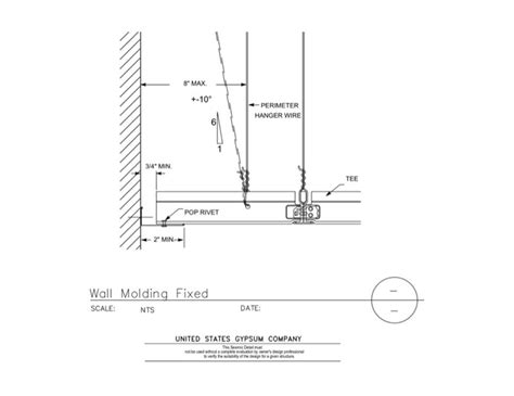 usg design studio 13 05 41 115 seismic detail wall molding fixed standard ibcdef