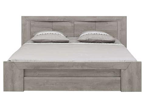 chambre adulte 160x200 lit 160x200 cm tiroir coloris chêne gris vente de