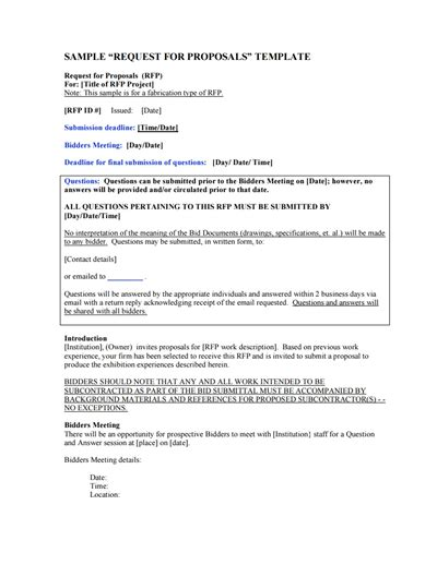 bidder statement template request for proposal template free download create edit