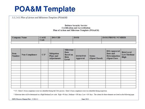 plan of action and milestones template poam template cds categorization and criticality determination an easy to use meal planner