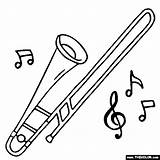 Trombone Coloring Instrument Drawing Instruments Musical Piccolo Tenor Trombones Bass Template Results Jazz Sketch Getdrawings sketch template