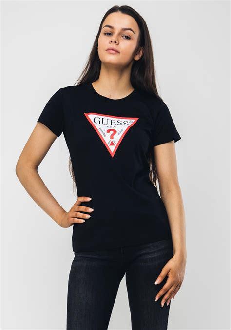 Guess Womens Triangle Logo T-Shirt, Black | McElhinneys