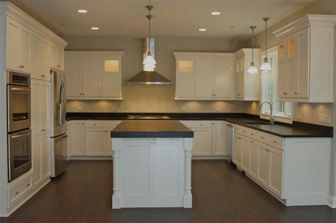 Custom, white painted cabinets with flat panel, Shaker