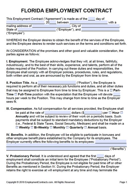 florida employment contract template  word