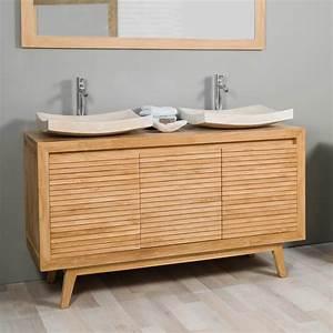 Meuble De Salle : meuble sous vasque double vasque en bois teck massif vintage naturel l 140 cm ~ Nature-et-papiers.com Idées de Décoration