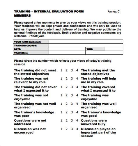 training evaluation form 7 sles exles format