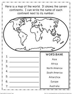 continents   world worksheets  basic world map