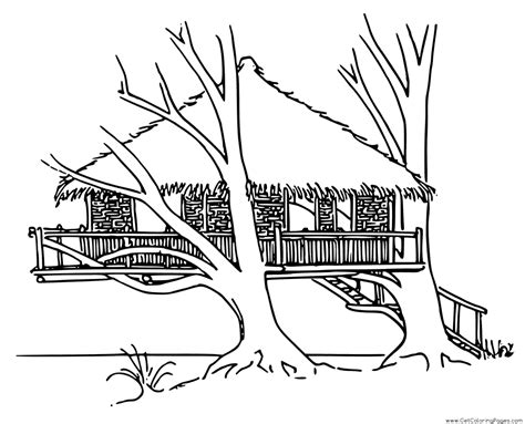 tree house coloring pages getcoloringpagescom
