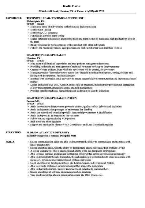 Sle Resume For Technical Lead by Lead Technical Specialist Resume Sles Velvet