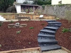 amenagement terrain binic With amenagement d un jardin en pente