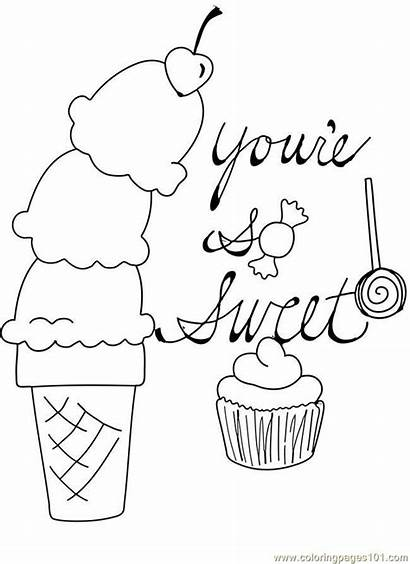 Coloring Pages Ice Cream Cupcake Valentine Printable