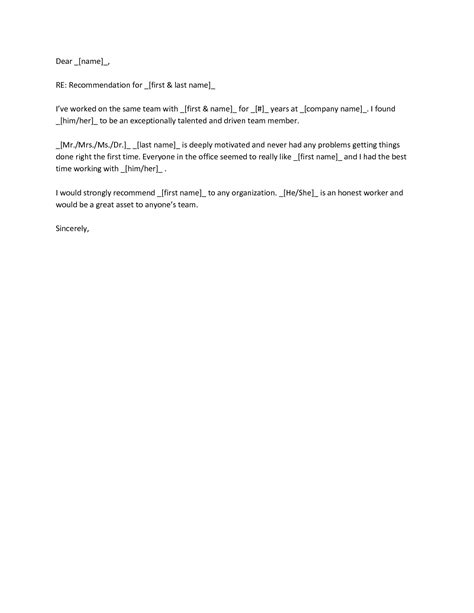 recommendation letter samples for co worker cover templates character