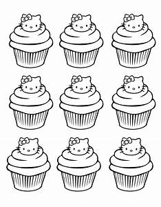 Coloriage Hello Kitty cupcake à imprimer