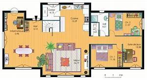 plan d39une maison d39habitation a 3 chambres maison moderne With plan maison une chambre