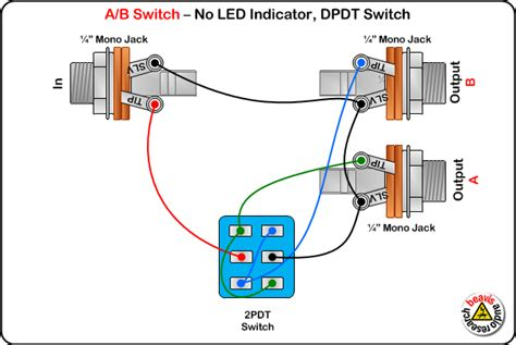 Ab Pedal Diagram by A B Switch Wiring Diagram No Led Dpdt Switch Diy