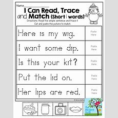 Read The Simple Sentence, Trace It And Cut And Paste The Picture To Match! Kinderland