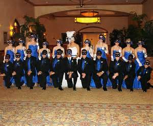Masquerade themed Quinceanera ~ with damas and chambelanes in full