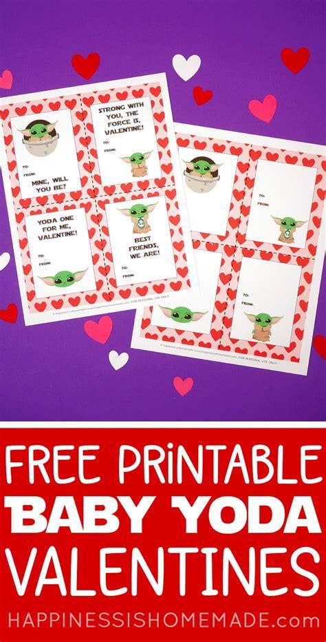 printable baby yoda valentines happiness  homemade