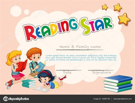 certificate template  reading star  pink background