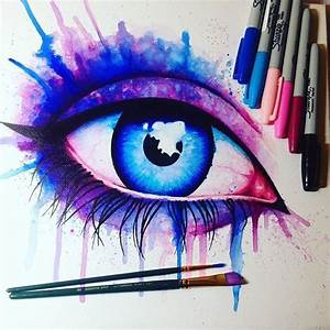 Drawn eye sharpie - Pencil and in color drawn eye sharpie