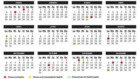 vacaciones calendario de festivos de de la comunidad de madrid