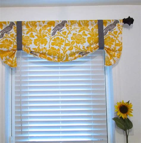 tie up curtain valance yellow and taupe window treatments
