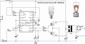 12v Cfl Emergency Light Circuit Using 3525 Ic