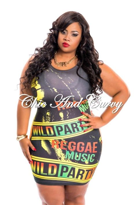 New Arrival New Plus Size Mini Dress in Jamaican Wild Party Print available at http//www ...