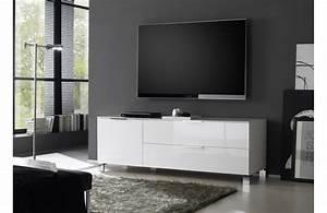 Meuble Tv Haut : meuble tv haut blanc laque ~ Teatrodelosmanantiales.com Idées de Décoration