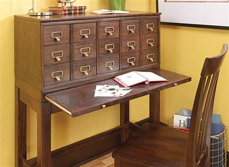 card catalog cabinet woodworking project woodsmith plans