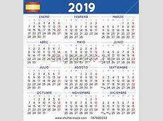 2019 Elegant Squared Calendar Spanish Year Vector de stock