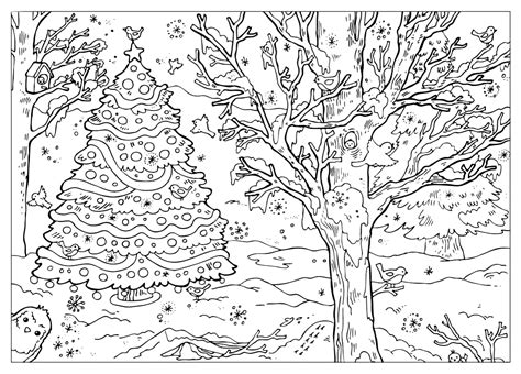 winter coloring page coloring page winter landscape