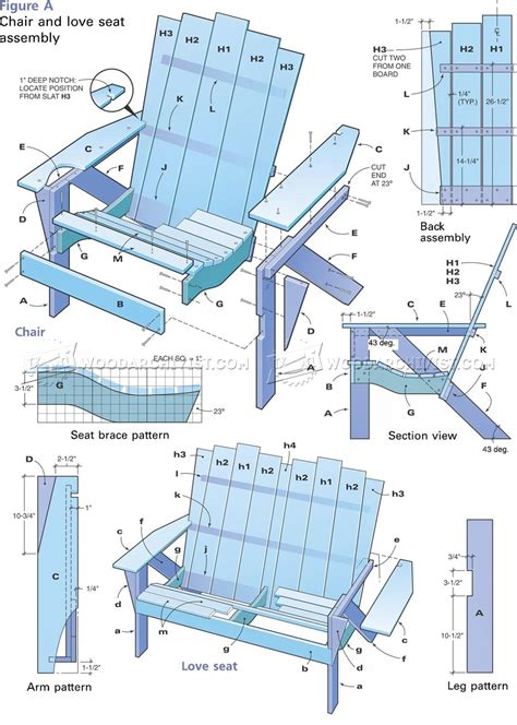 loveseat plans adirondack seat plans woodarchivist