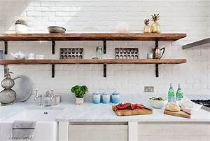 Rustic White Kitchen with Slim and Rustic Open Shelves
