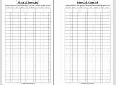 Template Phase 10 Score Sheet