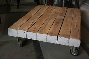 Poutre En Chene : table basse xl en vieilles poutres en ch ne patin es sur ~ Premium-room.com Idées de Décoration