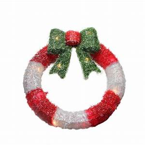 16, U0026quot, Lighted, Tinsel, Red, U0026, White, Wreath, With, Bow, Christmas, Window, Decoration