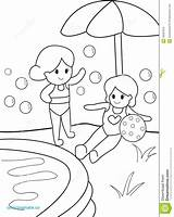 Swimming Pool Coloring Pages Summer Kid Drawing Getdrawings Sketch Template sketch template