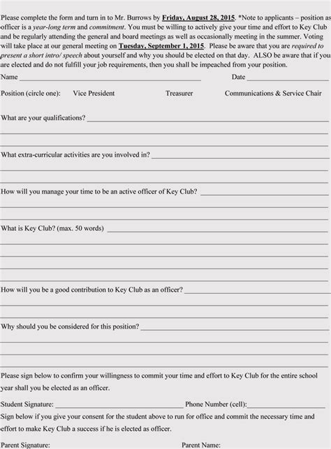 club membership applicationregistration form templates